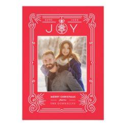 Red Ornate Frame Newlywed Mistletoe Holiday Card