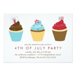 Red White And Blue Cupcakes 4th Of July Party Invitation