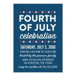 Red White Blue Fourth Of July Celebration Invitation