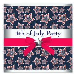Red White Blue Stars 4th Of July Bbq Party Invitation