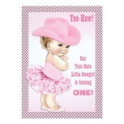 Yee-Haw! Tutu Cute Little Cowgirl Baby Birthday Invitation