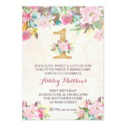 1ST birthday  FIRST Beautiful Floral Invitation