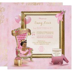 1st Birthday African American Princess Throne Card