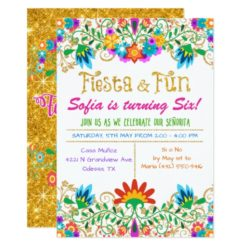 ANY AGE - Fiesta Floral Glitter Birthday Card