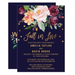 Autumn Floral | Fall In Love Wedding Invitation Card