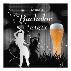 Bachelor Party Black Gold White Beer Glass Girls Card