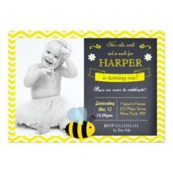 Bee Chalkboard Photo Birthday Party Invitations