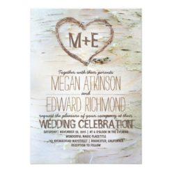Birch Tree Heart Rustic Fall Wedding Invitation Card