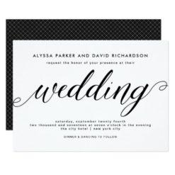 Black and White Elegant Script Wedding Invitation