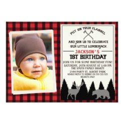 Boys Lumberjack Bear Deer 1st Birthday Invitation