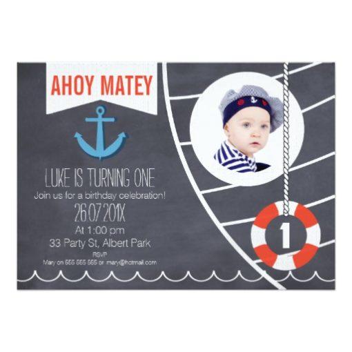 Boys Nautical Chalkboard 1st Birthday Invitation