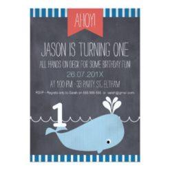 Boys Whale Chalkboard 1st Birthday Invitation