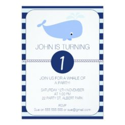 Boys Whale Nautical 1st Birthday Party Invitation