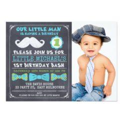 Chalkboard Photo Mustache 1st Birthday Invitation