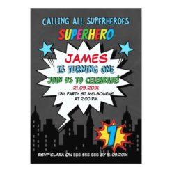 Chalkboard Superhero 1st Birthday Invitation