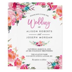 Classy Floral Blossom Watercolor Flowers Wedding Invitation Card