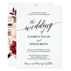 Elegant Calligraphy with Floral Backing Wedding Invitation Card