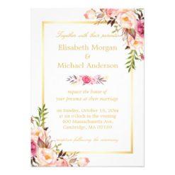Elegant Floral Chic Gold White Formal Wedding Invitation Card