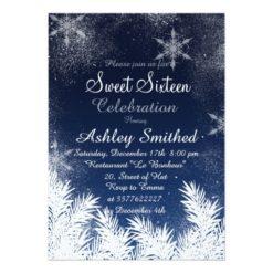 Elegant Navy Blue Snowflake Winter Sweet 16 Card