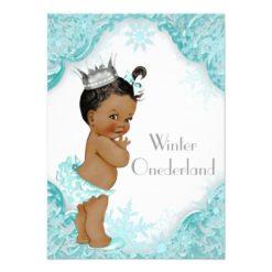 Ethnic Girl Winter Onederland 1st Birthday Party Card