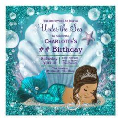 Ethnic Mermaid Under the Sea Birthday Party Card