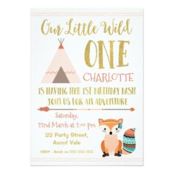 Faux Glitter Wild One Fox 1st Birthday Invitation