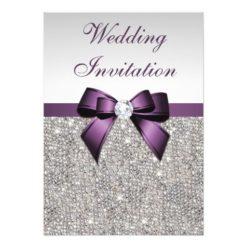 Faux Silver Sequins Diamonds Purple Bow Wedding Invitation Card