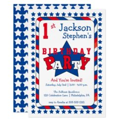 Festive Stars and Stripes Patriotic 1st Birthday Card
