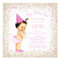 Girls 1st Birthday Party Pink Gold Glitter Card