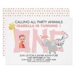 Girls Safari Animals 1st Birthday Invitation