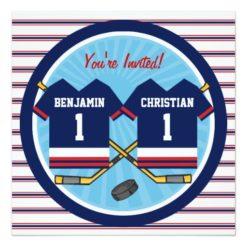 Ice Hockey Twins Jersey V2 1st Birthday Party Card