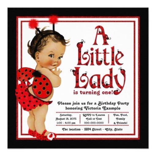 Ladybug 1st Birthday Party Invitations