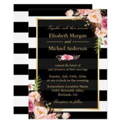 Modern Vintage Pink Floral Stripes Formal Wedding Invitation Card