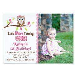 Owl Girl 1st Birthday Invitation 5x7 Photo Card