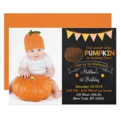 Pumpkin Chalkboard 1st Birthday Card
