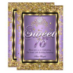 Regal Princess Sweet 16 Gold Lavender Purple Party Card