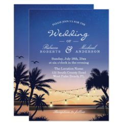 Romantic Sunset Palm Beach String Lights Wedding Invitation Card
