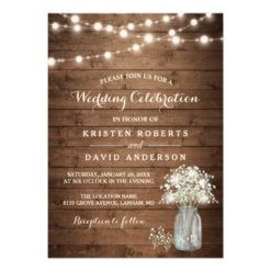 Rustic Baby's Breath Mason Jar Lights Wedding Invitation Card