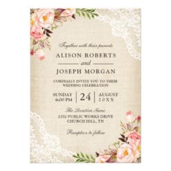 Rustic Country Classy Floral Lace Burlap Wedding Invitation Card