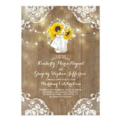 Rustic Sunflowers and Baby's Breath Fall Wedding Invitation Card
