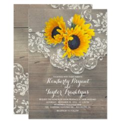 Rustic Sunflowers and Vintage Floral Lace Wedding Invitation Card