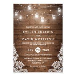Rustic Wood Mason Jars String Lights Lace Wedding Invitation Card