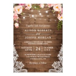 Rustic Wood String Lights Lace Floral Farm Wedding Invitation Card