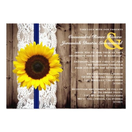Rustic Wooden and Lace with Sunflower Wedding Invitation Card