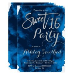 Silver typography navy blue watercolor Sweet 16 Card