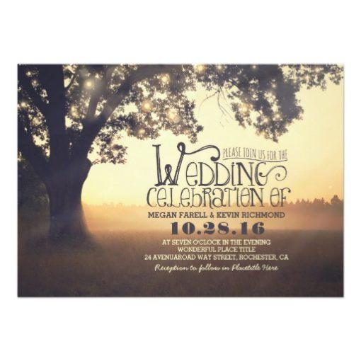 String of Lights Tree Rustic Vintage Wedding Invitation Card