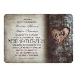 Tree Carved Heart Rustic and Vintage Wedding Invitation Card