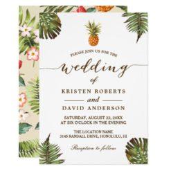 Tropical Leaves Pineapple Hawaiian Luau Wedding Invitation Card