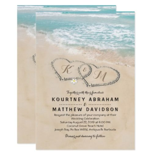 Tropical Vintage Beach Heart Shore Wedding Invitation Card