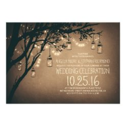 Vintage and Rustic Mason Jar String Lights Wedding Invitation Card